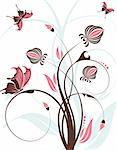 Floral background with butterfly, element for design, vector illustration Stock Photo - Royalty-Free, Artist: TAlex                         , Code: 400-04687885