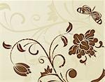 Flower background with butterfly in retro color, element for design, vector illustration