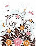 Grunge floral background with dragonfly, element for design, vector illustration