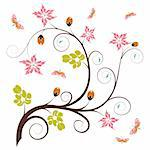 Floral background with butterfly, element for design, vector illustration Stock Photo - Royalty-Free, Artist: TAlex                         , Code: 400-04687930