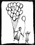 A person gives a child one of his many balloons Stock Photo - Royalty-Free, Artist: xochicalco                    , Code: 400-04689181