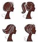 vector beautiful women silhouettes