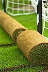 Turf grass rolls on football field - closeup Stock Photo - Royalty-Free, Artist: lightkeeper                   , Code: 400-04690516
