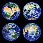 Four Earth Globes with clouds, high resolution pictures Stock Photo - Royalty-Free, Artist: sailorr                       , Code: 400-04691421