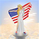 A beautiful girl with the USA flag. Illustration in vector format Stock Photo - Royalty-Free, Artist: orensila                      , Code: 400-04691505