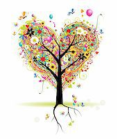 Happy holiday, heart shape tree with balloons Stock Photo - Royalty-Freenull, Code: 400-04691835
