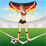The girl germany soccer fan. Illustration in vector format EPS Stock Photo - Royalty-Free, Artist: orensila                      , Code: 400-04692811