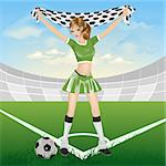 Girl soccer fan. Illustration in vector format Stock Photo - Royalty-Free, Artist: orensila                      , Code: 400-04692950