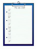Blue business clip board with to do list and tick box Stock Photo - Royalty-Free, Artist: Nicemonkey, Code: 400-04693997