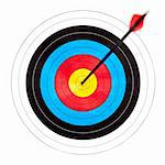 Archery target with arrow in the bullseye Stock Photo - Royalty-Free, Artist: naumoid                       , Code: 400-04695968