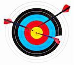 Archery target with arrows in the bullseye Stock Photo - Royalty-Free, Artist: naumoid                       , Code: 400-04695969