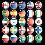 Web buttons with flags on black background. Name of the country as the name of the layer. Easy to change.. Vector illustration eps 10.