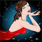 Illustration vector, beautiful woman