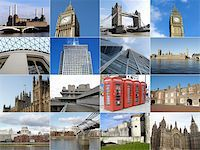 London landmarks collage including Big Ben, Saint Paul, Houses of Parliament and more Stock Photo - Royalty-Freenull, Code: 400-04699570