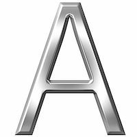 fancy letters - 3d silver letter A isolated in white Stock Photo - Royalty-Freenull, Code: 400-04700600