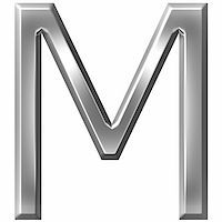 fancy letters - 3d silver letter M isolated in white Stock Photo - Royalty-Freenull, Code: 400-04700612