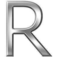 fancy letters - 3d silver letter R isolated in white Stock Photo - Royalty-Freenull, Code: 400-04700617