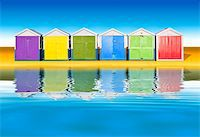An image of colorful little beach huts Stock Photo - Royalty-Freenull, Code: 400-04702255