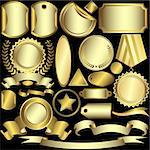 Set golden labels and ribbons on a black background (vector) Stock Photo - Royalty-Free, Artist: OlgaDrozd                     , Code: 400-04705159