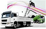 Two  trucks on the road. Colored Vector illustration Stock Photo - Royalty-Free, Artist: leonido                       , Code: 400-04706426