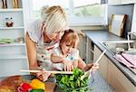 Mother and daughter preparing a salad in kitchen Stock Photo - Royalty-Free, Artist: 4774344sean                   , Code: 400-04709925