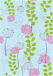 Rose, dandelion and flower wallpaper. This image is a vector illustration Stock Photo - Royalty-Free, Artist: lina_s                        , Code: 400-04711840
