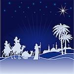Classic three magic scene and shining star of Bethlehem. Stock Photo - Royalty-Free, Artist: alvaroc                       , Code: 400-04713065