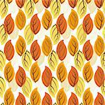 Floral seamless autumn pattern with orange-yellow leaves (vector EPS 8) Stock Photo - Royalty-Free, Artist: OlgaDrozd                     , Code: 400-04713316