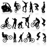 sports scooters - Extreme silhouettes man on roller, bicycle, scooter, sk