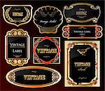 Decorative black golden labels . Vector illustration Stock Photo - Royalty-Free, Artist: emaria                        , Code: 400-04715931