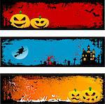 Collection of three grunge Halloween backgrounds Stock Photo - Royalty-Free, Artist: kirstypargeter                , Code: 400-04716041
