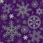 Seamless violet christmas pattern with white-blue snowflakes (vector)