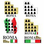 Stylized cartoon representation of the Coliseum in Rome, with the Italian spelling for the city (Roma) and the Italian colors Stock Photo - Royalty-Free, Artist: bruno1998                     , Code: 400-04717067