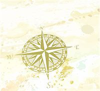 Vector illustration of vintage grunge background with retro compass windrose. Great for any