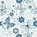 Seamless white christmas floral pattern with blue snowflakes, flowers and butterflies (vector) Stock Photo - Royalty-Free, Artist: OlgaDrozd                     , Code: 400-04719098