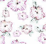 Seamless vector retro pattern with flowers illustration