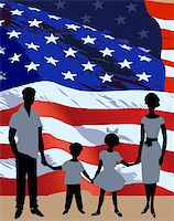 Silhouette of a family background on American flag Stock Photo - Royalty-Freenull, Code: 400-04719658