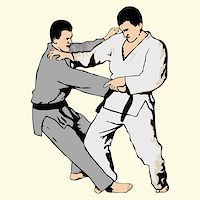 Vector illustration of ju-jutsu fighting Stock Photo - Royalty-Freenull, Code: 400-04719659