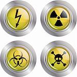 Illustration of a button with various warning signs on a white background. Stock Photo - Royalty-Free, Artist: Duda78                        , Code: 400-04719820