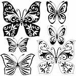Set black and white vintage butterflies for design isolated on white (vector) Stock Photo - Royalty-Free, Artist: OlgaDrozd                     , Code: 400-04720145