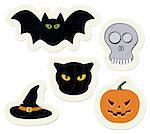 Easy to edit halloween stickers set. Vector stickers collection.