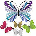 Set abstract decorative mosaic butterflies for design on white (vector) Stock Photo - Royalty-Free, Artist: OlgaDrozd                     , Code: 400-04720530