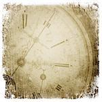 Antique pocket clock face. Grunge background with isolated borders.  Stock Photo - Royalty-Free, Artist: pashabo                       , Code: 400-04720813