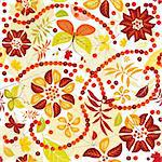 Autumn seamless  pattern with colorful leaves, flowers and butterflies  (vector) Stock Photo - Royalty-Free, Artist: OlgaDrozd                     , Code: 400-04722712