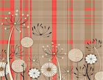 Editable vector illustration of generic umbellifer flowers and tartan pattern Stock Photo - Royalty-Free, Artist: tawng                         , Code: 400-04723003
