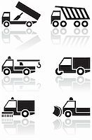 snow plow truck - Vector set of different truck symbols. All vector objects are isolated. Colors and transparent background color are easy to adjust. Stock Photo - Royalty-Freenull, Code: 400-04724917