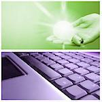 Technology collage: light bulb ,cell phone and keyboard. Stock Photo - Royalty-Free, Artist: arosoft                       , Code: 400-04729033