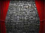 Red velvet curtain opening scene made in 3d Stock Photo - Royalty-Free, Artist: icetray                       , Code: 400-04729529