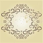 Beautiful vintage designs of flowers and scrolls to sepia grunge background. Stock Photo - Royalty-Free, Artist: OlgaYakovenko                 , Code: 400-04736861