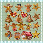 Collection of different ginger bread cookies,  vector illustration Stock Photo - Royalty-Free, Artist: Stiven                        , Code: 400-04738739